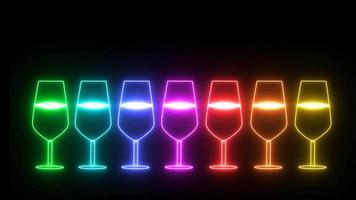 Arco iris de colores pequeños y grandes elementos de letrero de neón de luz de copa de champán en pantalla negra video