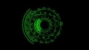 magische zes sterren groene krachtige energie roteren langzaam verschijnen video