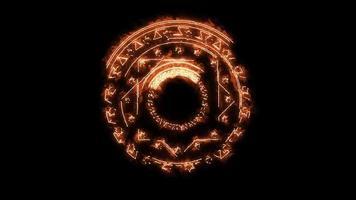 magische ster achthoek vuur energie roteren langzaam verschijnen zwart scherm video