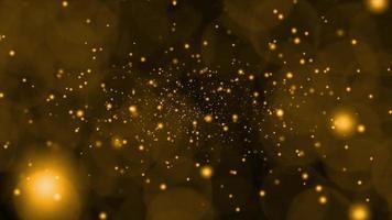 tiefgoldener Schnee und Eisstaub fallen sehr langsam und verblassten in der Wintersaison und blinken Luxusgeschenk goldener Hintergrund video