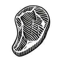A black and white vector illustration of a meat steak