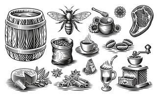 un conjunto de ilustraciones vectoriales en blanco y negro de diferentes tipos de alimentos vector
