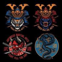 Colorfull Samurai t-shirt designs bundle vector