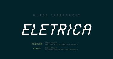 Creative modern urban alphabet fonts. Typography sport, game, technology, fashion, digital, future abstract logo ragular and italic font. vector illustration