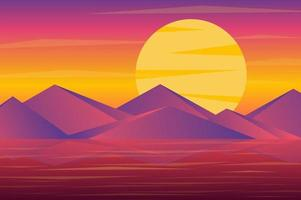 Sunset over mountains peaks landscape background in flat style vector
