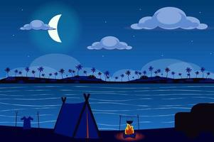 Tent on shore of tropical island at night landscape background in flat style vector