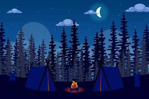 Tent camp and bonfire in forest at night landscape background in flat style vector