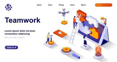 Teamwork isometric landing page. Colleagues cooperation at office isometry concept vector