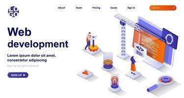 Web development isometric landing page. Development of interface site code isometry concept vector