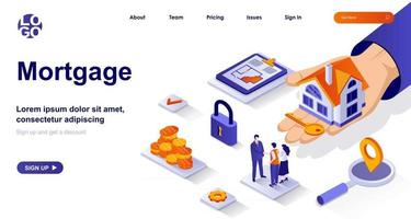 Mortgage isometric landing page. Bank loan for home purchase isometry concept vector