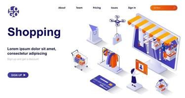 Shopping isometric landing page. Buyer buys retail or online isometry concept vector