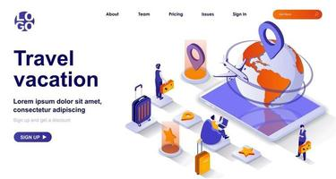 Travel vacation isometric landing page. International tourism isometry concept vector