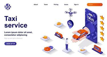 Taxi service isometric landing page. Passenger transportation mobile app isometry concept vector