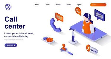 Call center isometric landing page. Customer support isometry concept vector