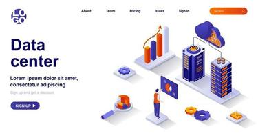 Data center isometric landing page. Operation engineer works in server racks room isometry concept vector