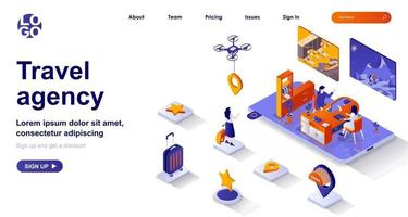 Travel agency isometric landing page. Operator helps client to choose vacation tour isometry concept vector
