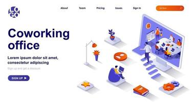 Coworking office isometric landing page. Colleagues work in open space isometry concept vector