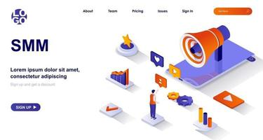 SMM isometric landing page vector