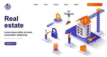 Real estate isometric landing page. Company building property to sell isometry concept vector