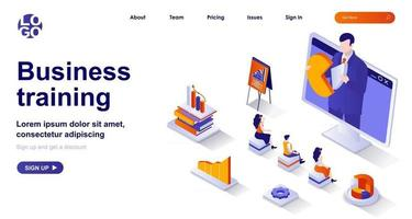 Business training isometric landing page. Professional development isometry concept vector