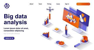 Big data analysis isometric landing page. Analyst analyzes statistics isometry concept vector
