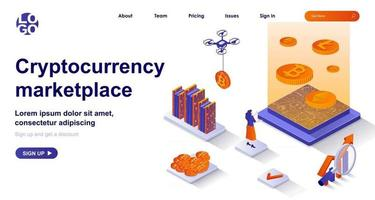 Cryptocurrency marketplace isometric landing page. Mining electronic money isometry concept vector