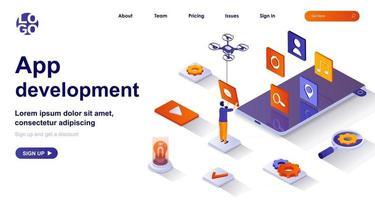 App development isometric landing page. Developer work on smartphone mobile app isometry concept vector