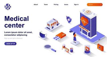 Medical center isometric landing page. Healthcare and medical services isometry concept vector