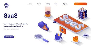 SaaS isometric landing page. Cloud technologies, customer subscription business model isometry concept vector