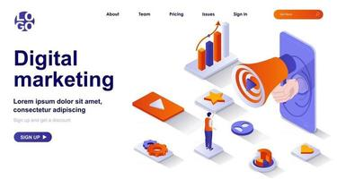 Digital marketing isometric landing page. Online advertising promotion isometry concept vector