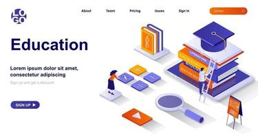 Education isometric landing page. Studying at school or university isometry concept vector