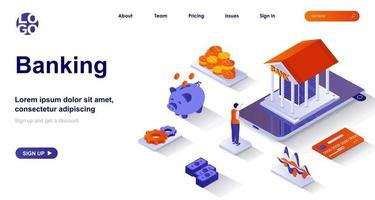 Banking isometric landing page. Bank financial services isometry concept vector