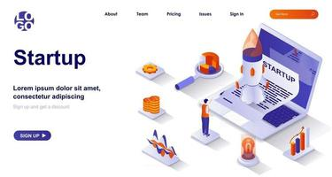 Startup isometric landing page. Launching new business project isometry concept vector