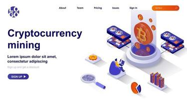 Cryptocurrency mining isometric landing page. Miner makes electronic money isometry concept vector