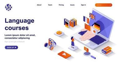 Language courses isometric landing page. Studying at language school isometry concept vector