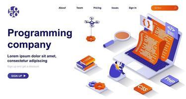 Programming company isometric landing page vector