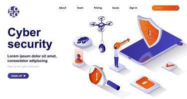 Cyber security isometric landing page. Protect personal data, safe internet isometry concept vector