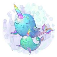 Cute fairy whale unicorns. The mother and baby. Watercolor. Vector. vector