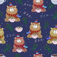 Seamless pattern with funny cute bears. Christmas decor. Vector