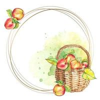 Round frame with basket of apples. Watercolor. Vector