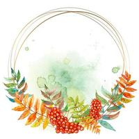 Round gold frame with a sprig of Rowan. Watercolor. Vector