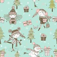Seamless pattern on Christmas winter theme with cute girls in Doodle style. Vector