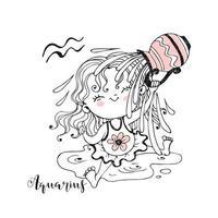 zodiaco infantil. signo de acuario. la dulce niña está empapada de agua. vector