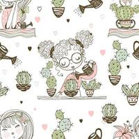 Seamless pattern with cute girls who grow cacti. Vector