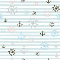 Seamless pattern on a marine theme. Striped background with I anchors and steering wheels. Vector