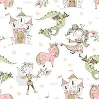 Seamless pattern fairyland with princesses and princes with dragons and castles. Vector