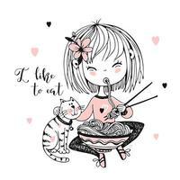 linda niña comiendo fideos de palillos. vector