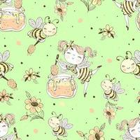 patrón sin fisuras con hadas de flores y abejas de miel. vector