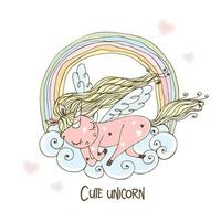 A cute unicorn with wings sleeps sweetly on a cloud with a rainbow. Vector
