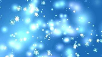 floco de neve oito e seis estrelas asa de espinho curto de seis ramos caindo na tela preta, elemento de partículas de pó de gelo para fundo azul do festival de natal video